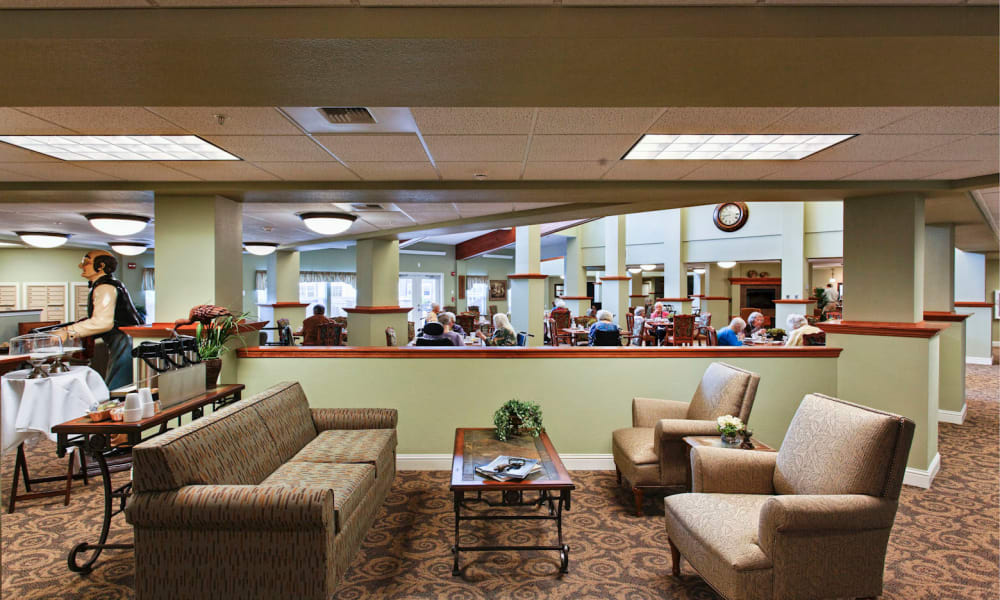 Dining hall at Sea View Senior Living Community in Brookings, Oregon