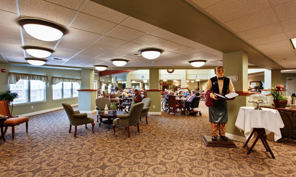 Carpeted dining hall at Sea View Senior Living Community in Brookings, Oregon