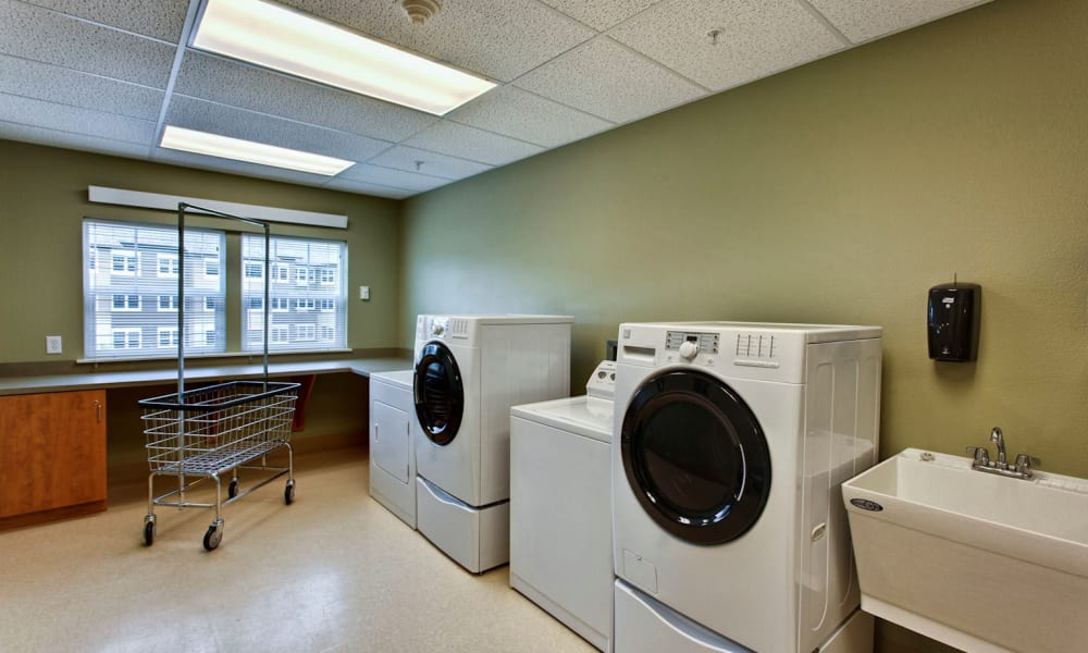 Laundry room at Sea View Senior Living Community in Brookings, Oregon