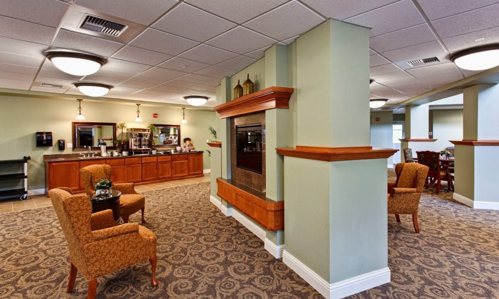 Sitting area with fireplace at Sea View Senior Living Community in Brookings, Oregon