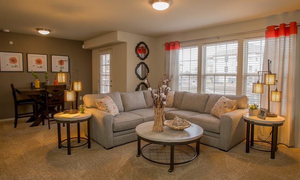 Spacious living area at Portofino Apartments in Wichita, Kansas