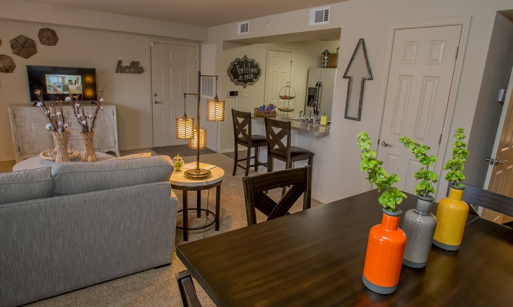 Bright dining area at Portofino Apartments in Wichita, Kansas