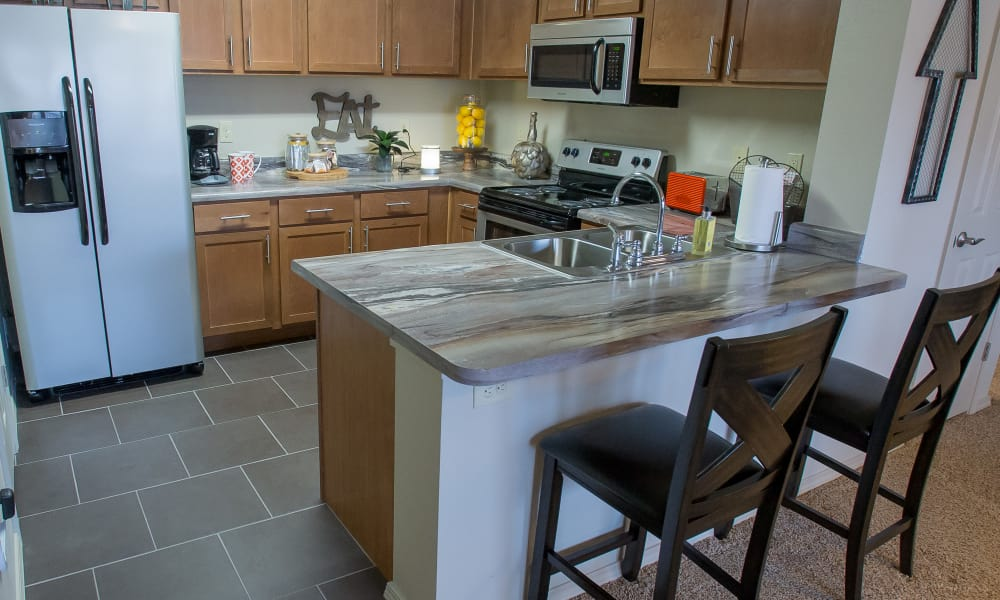 Bright kitchen at Portofino Apartments in Wichita, Kansas