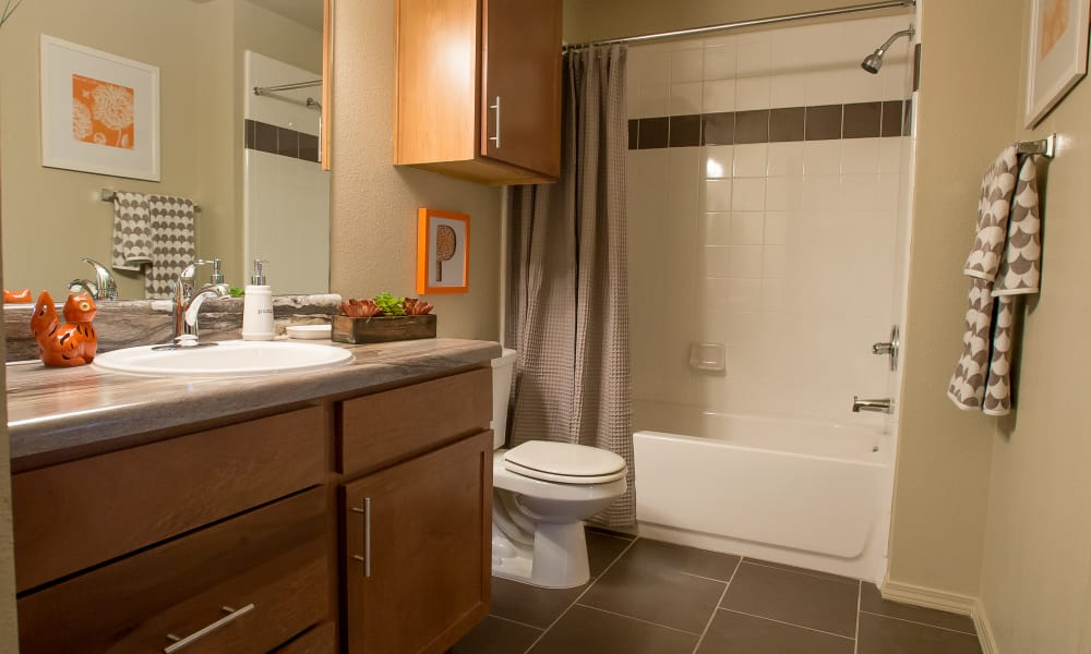 Clean bathroom at Portofino Apartments in Wichita, Kansas