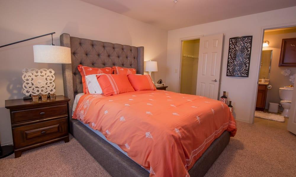 An apartment bedroom at Prairie Springs in Oklahoma City, Oklahoma