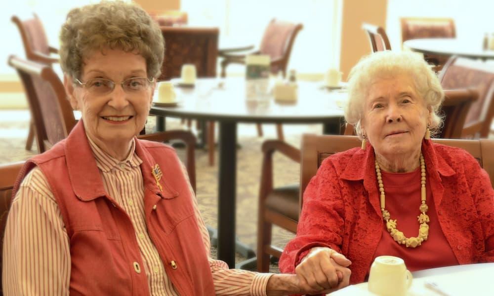 Senior ladies enjoying coffee at Wheatfields Senior Living Community in Clovis, New Mexico