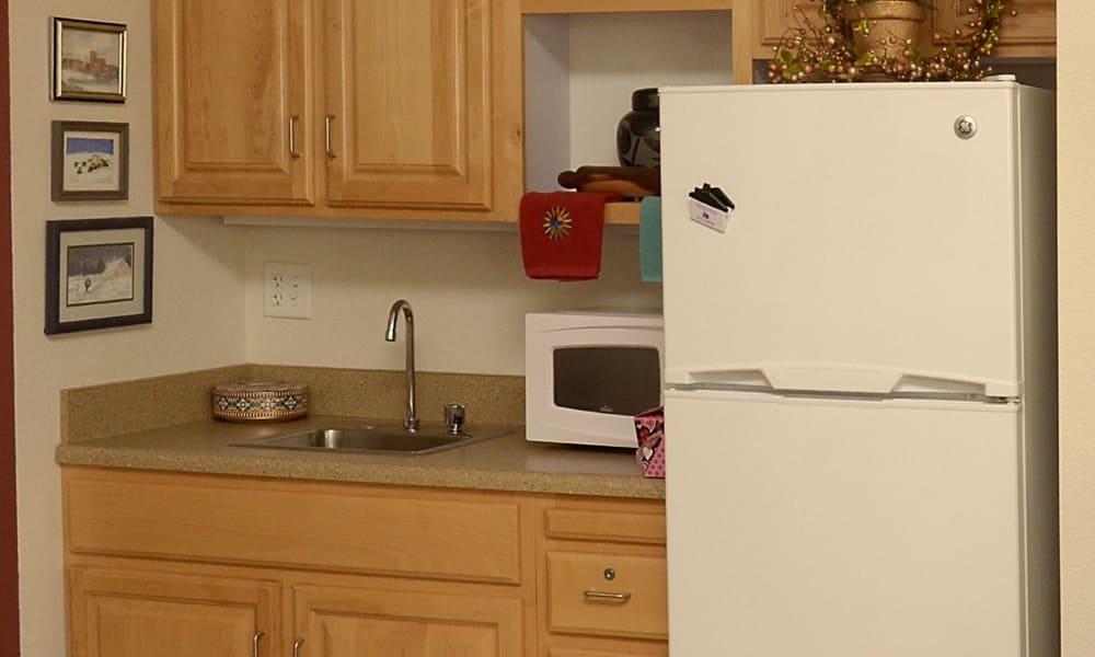 Resident kitchen at Wheatfields Senior Living Community in Clovis, New Mexico