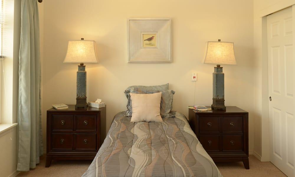 Resident bedroom at Wheatfields Senior Living Community in Clovis, New Mexico