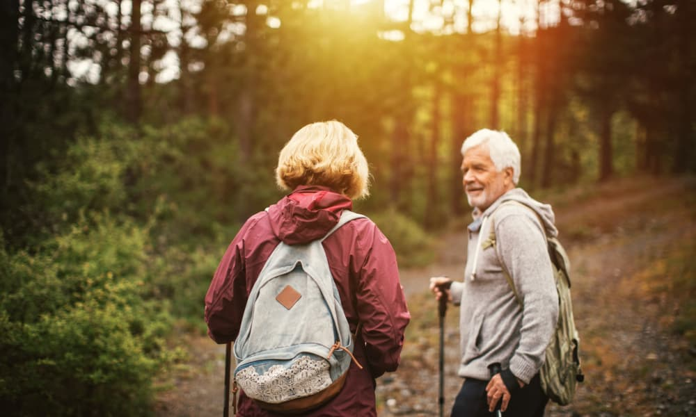 Senior couple hiking at at The Lodge in Sisters in Sisters, Oregon