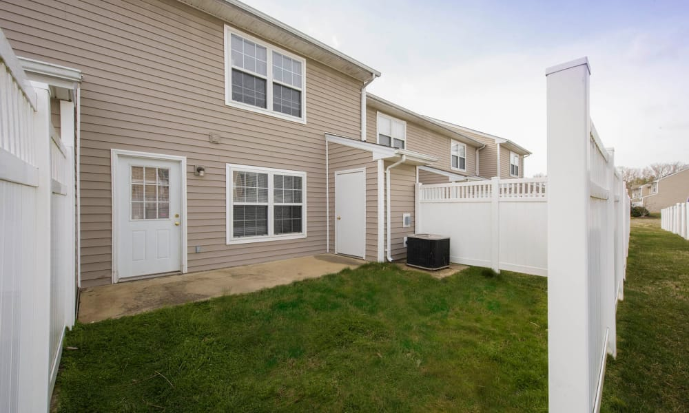 Spacious fenced yard at Villas at Greenview West in Great Mills, Maryland