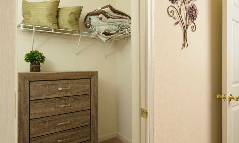 Large bedroom closet at Villas at Greenview West in Great Mills, Maryland