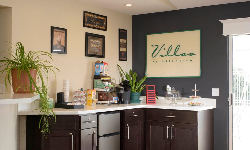 Clubhouse with coffee bar and pastries at Villas at Greenview West in Great Mills, Maryland
