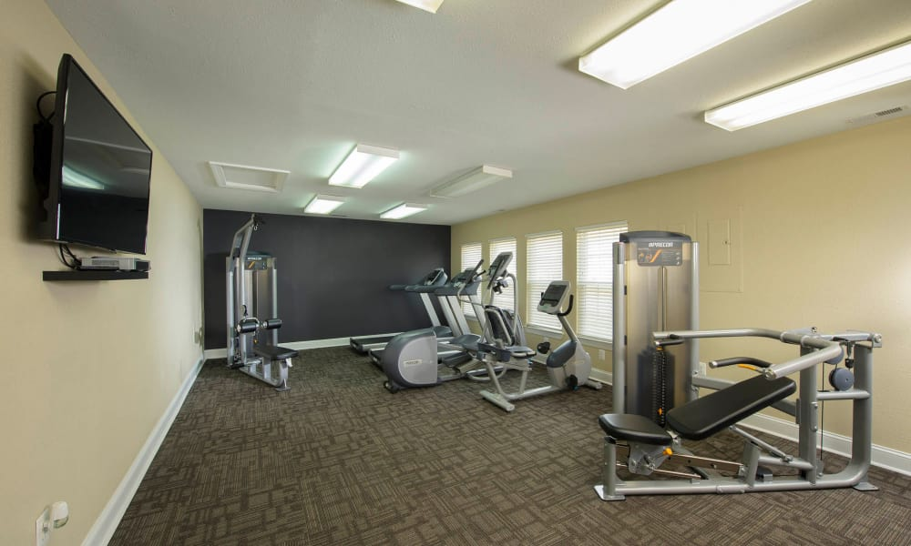 Fitness Center with a flat-screen tv at Villas at Greenview West in Great Mills, Maryland