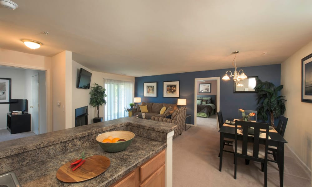 Dinning room and kitchen at Park Villas Apartments in Lexington Park, Maryland