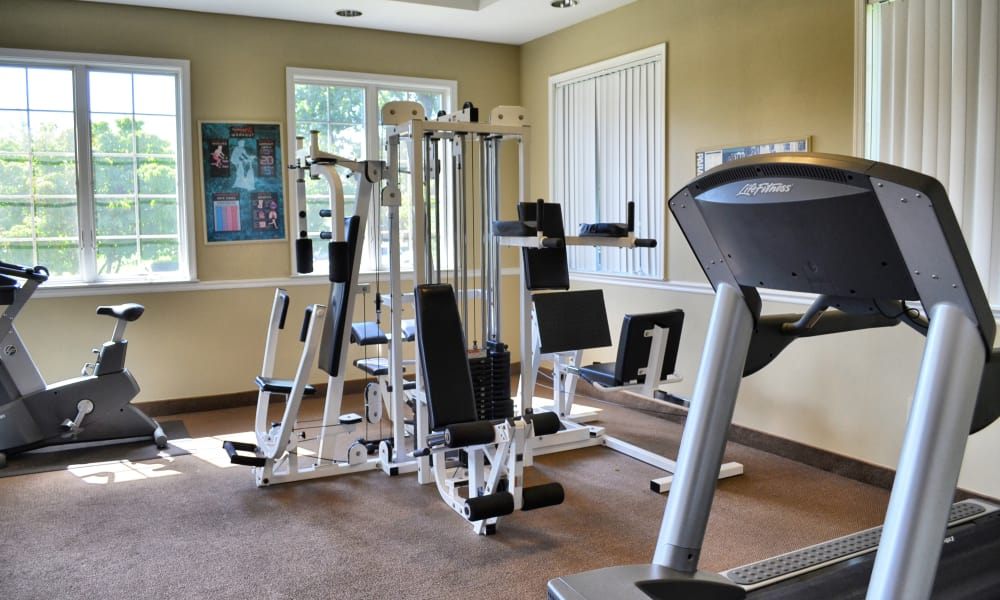 Fitness center at Chesterfield Apartment Homes in Levittown, Pennsylvania
