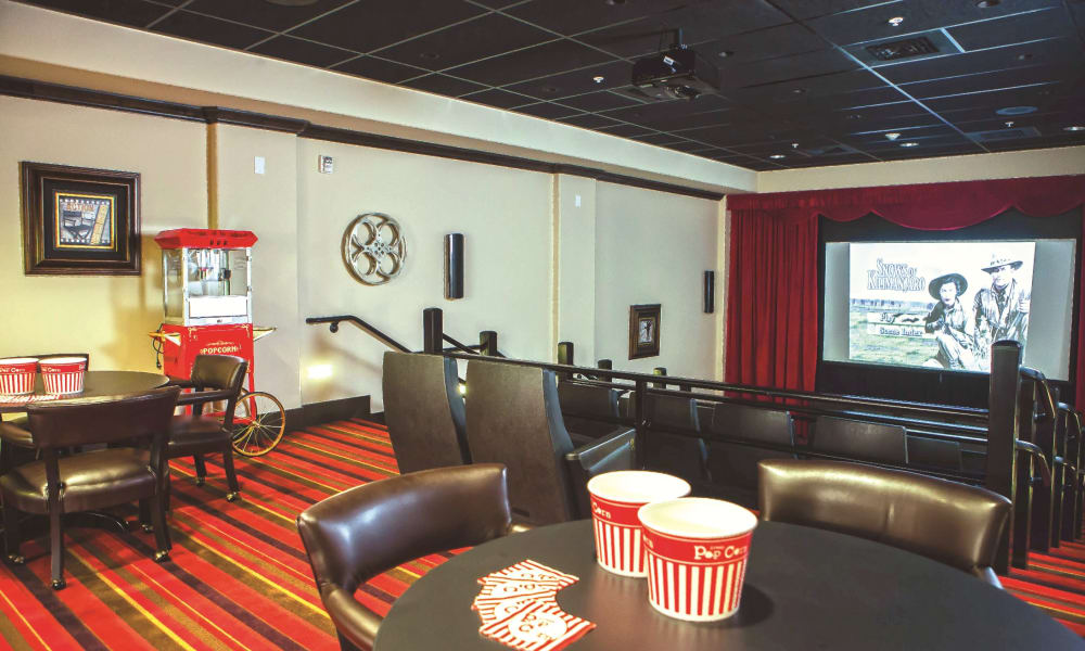 An onsite movie theater at Meadowlark Estates Gracious Retirement Living in Lawrence, Kansas