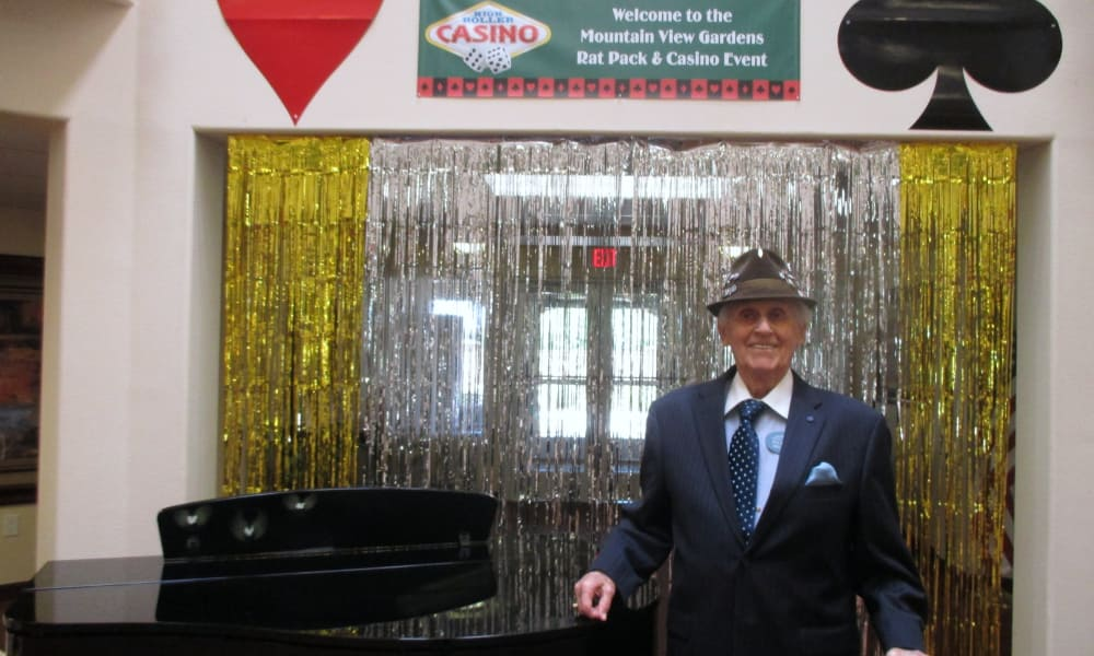 A resident dressed for casino night at Mountain View Gardens in Sierra Vista, Arizona