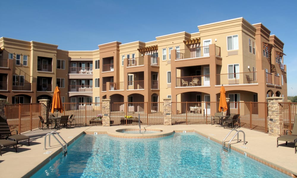 Outdoor community pool for residents at Mountain View Gardens in Sierra Vista, Arizona