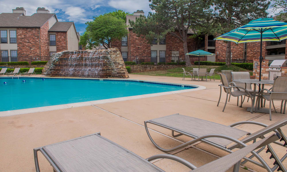 Resort style swimming pool at Warrington Apartments in Oklahoma City, Oklahoma