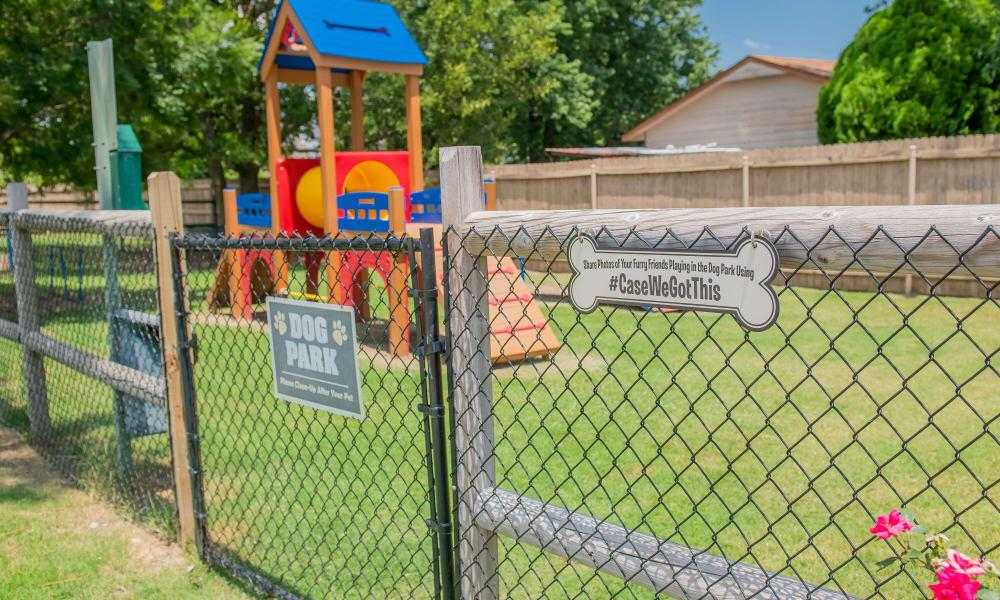 A dog park and playground near Villas at Aspen Park in Broken Arrow, Oklahoma