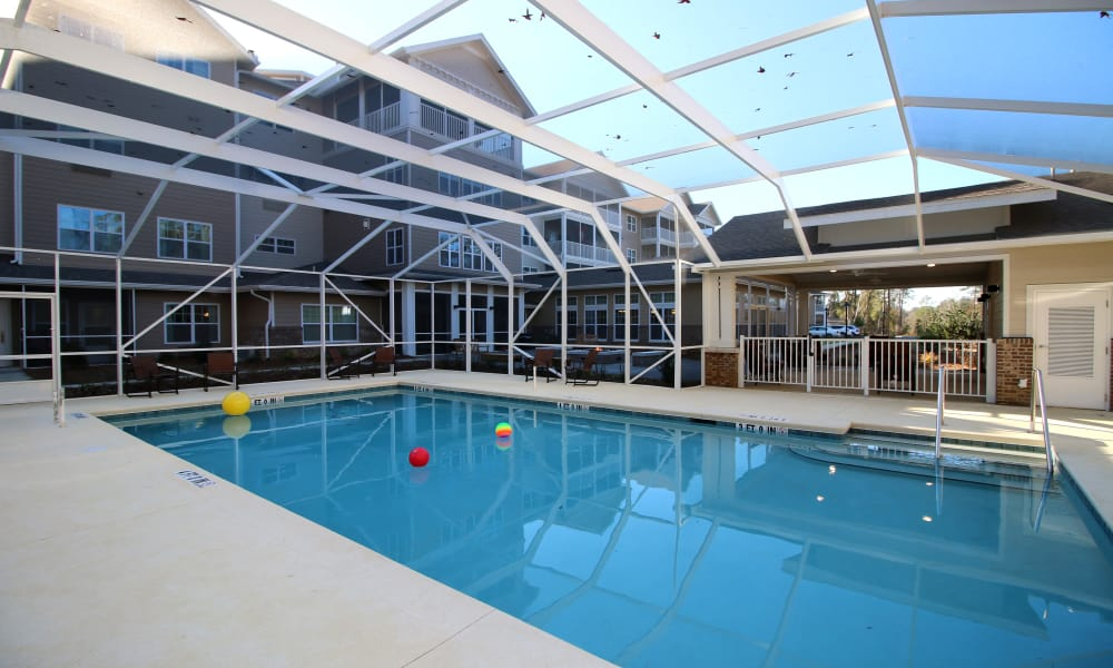 The indoor pool for residents at Mulligan Park Gracious Retirement Living in Tallahassee, Florida