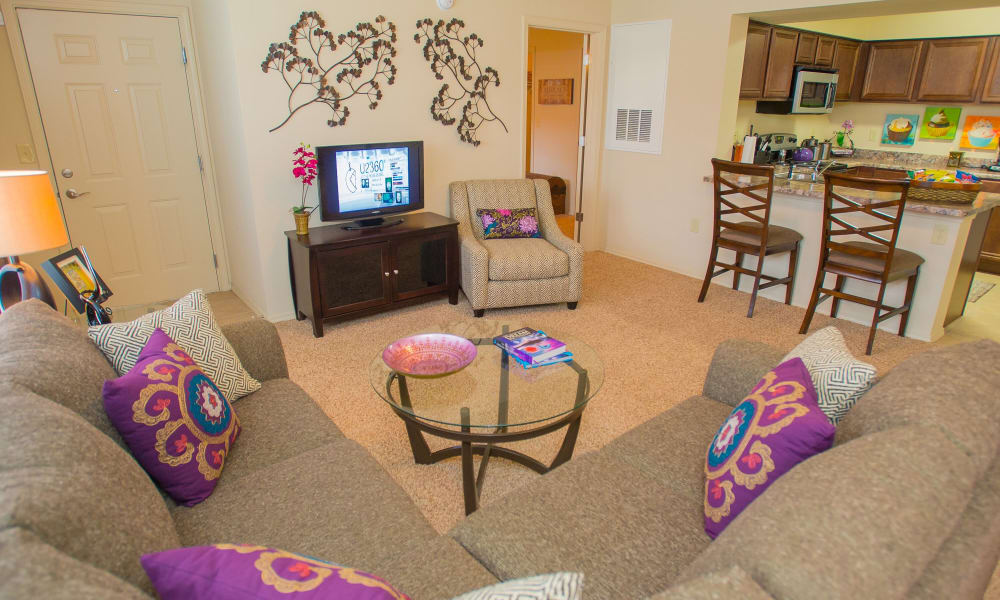 Spacious living room at Coffee Creek Apartments in Owasso, Oklahoma