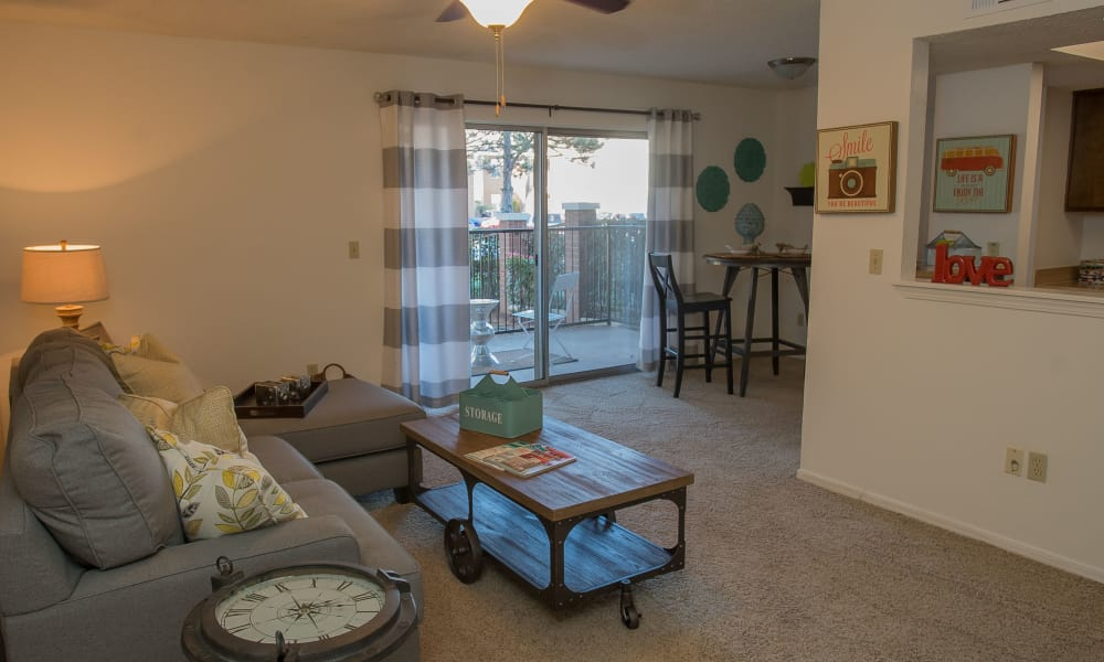 An apartment living room at Hunter's Ridge in Oklahoma City, OK