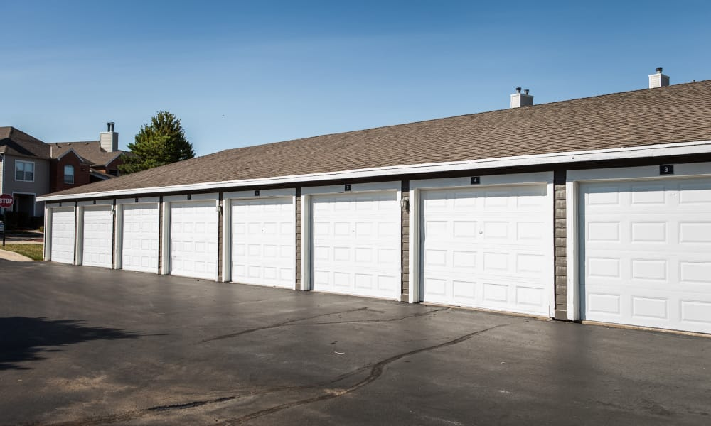Resident garages at Signature Place in West Des Moines, Iowa