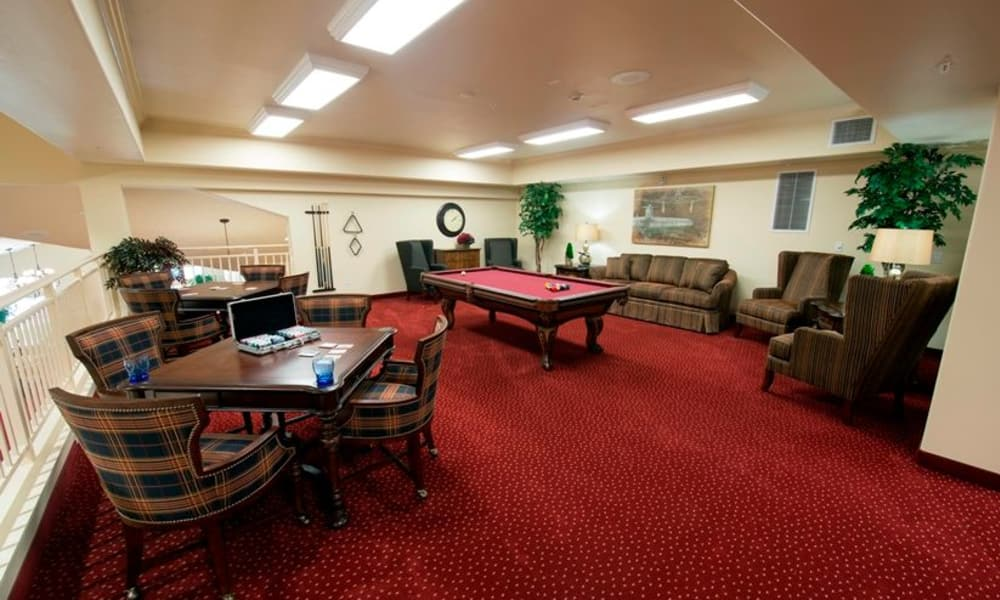 Community game room for residents at Northridge Gracious Retirement Living in Fishers, Indiana