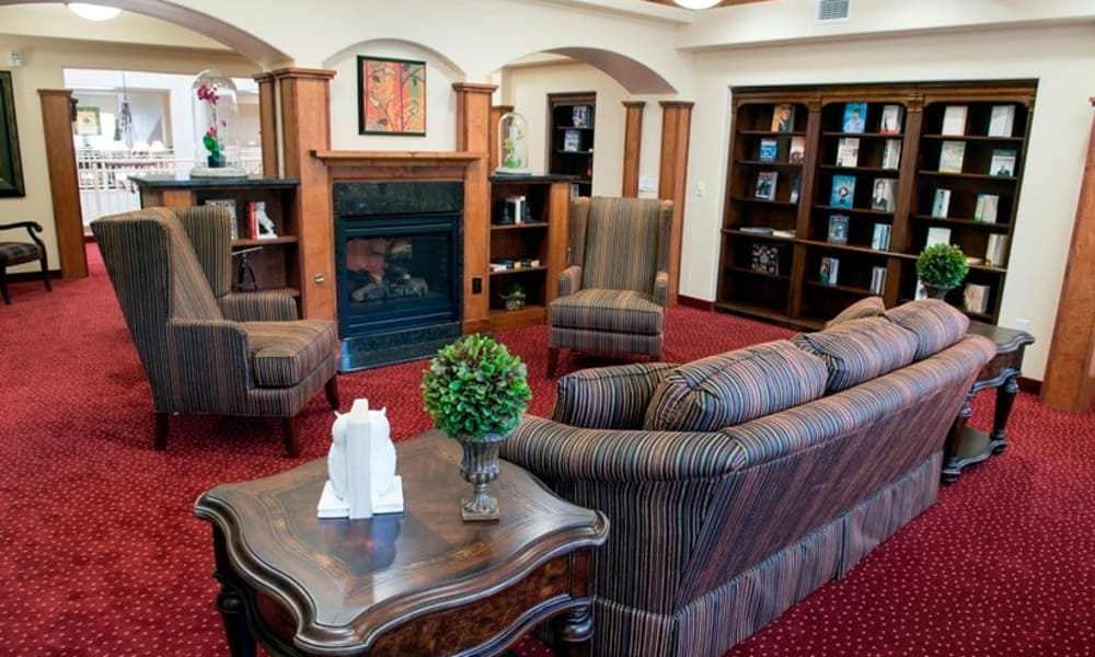 Fireside seating at Northridge Gracious Retirement Living in Fishers, Indiana