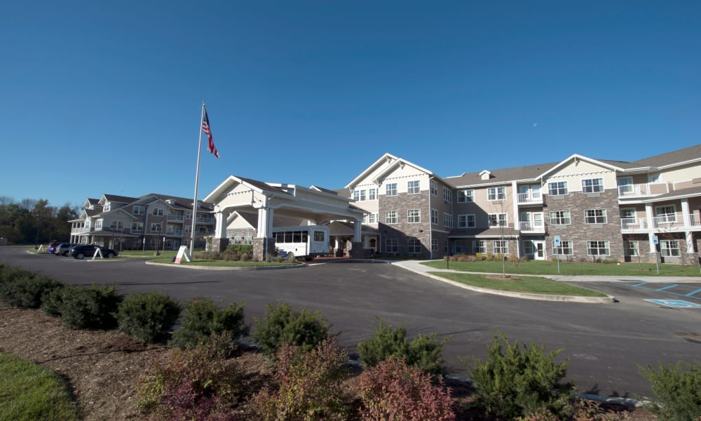 Building exterior and main entrance at Northridge Gracious Retirement Living in Fishers, Indiana