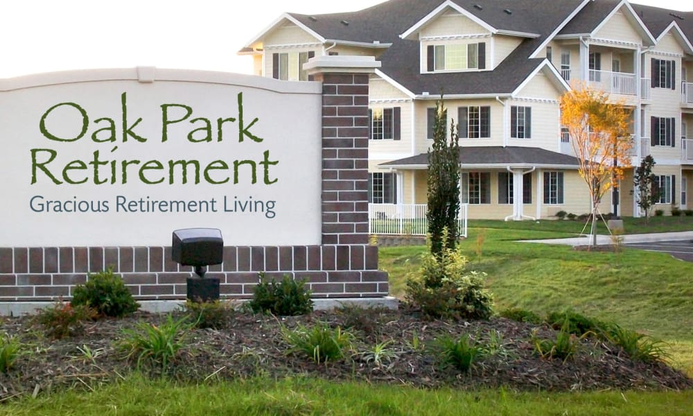 Branding and signage outside Oak Park Retirement in Salisbury, North Carolina