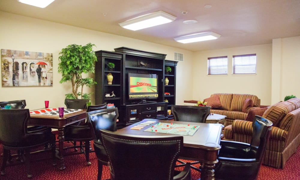 Community game room at Oak Park Retirement in Salisbury, North Carolina