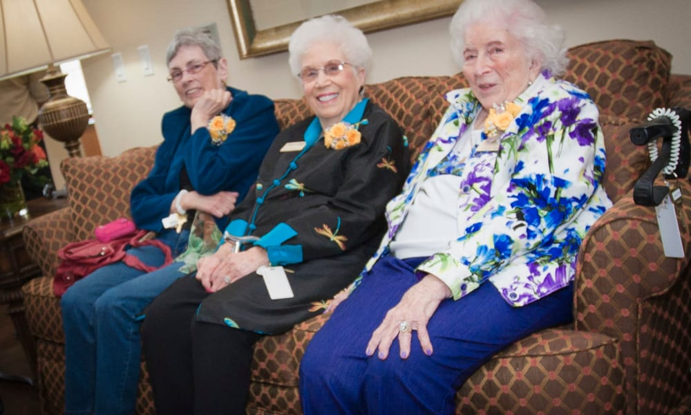 Senior women enjoying a conversation together at Pioneer Ridge Gracious Retirement Living in McKinney, Texas