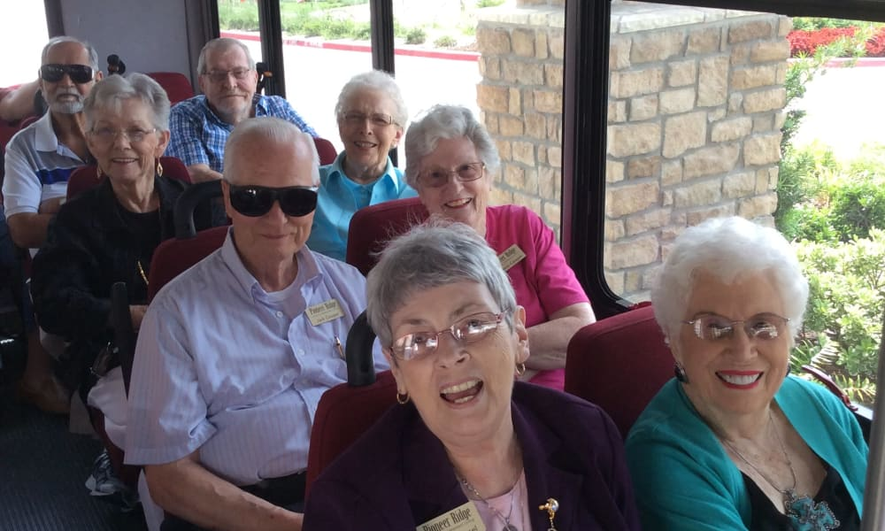 Residents taking a bus outing at Pioneer Ridge Gracious Retirement Living in McKinney, Texas