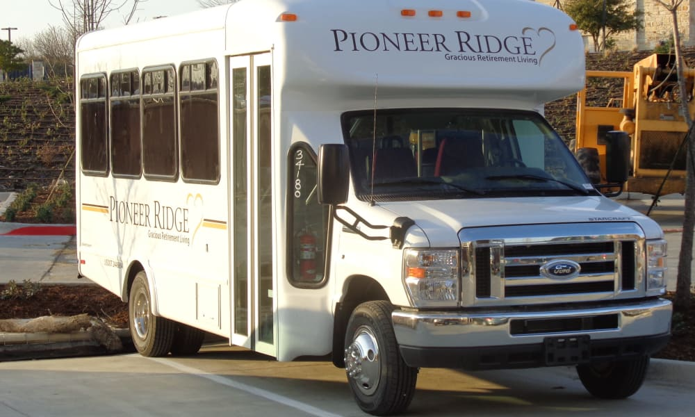 Pioneer Ridge Gracious Retirement Living community shuttle bus in McKinney, Texas