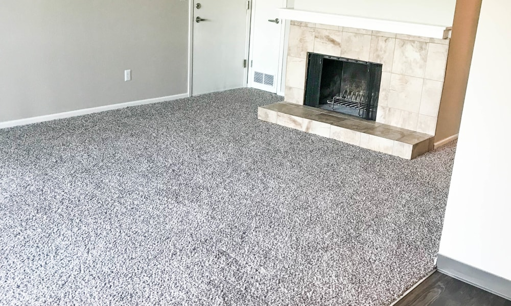 Carpeted living room at Windsor on the River in Cedar Rapids, Iowa