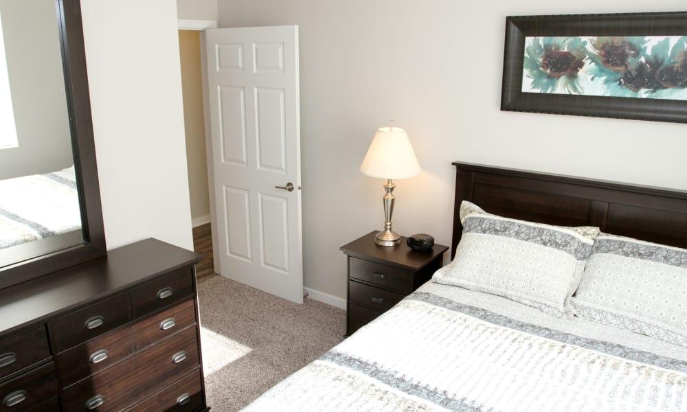 Bright bedroom at Johnston Gardens in Johnston, Iowa