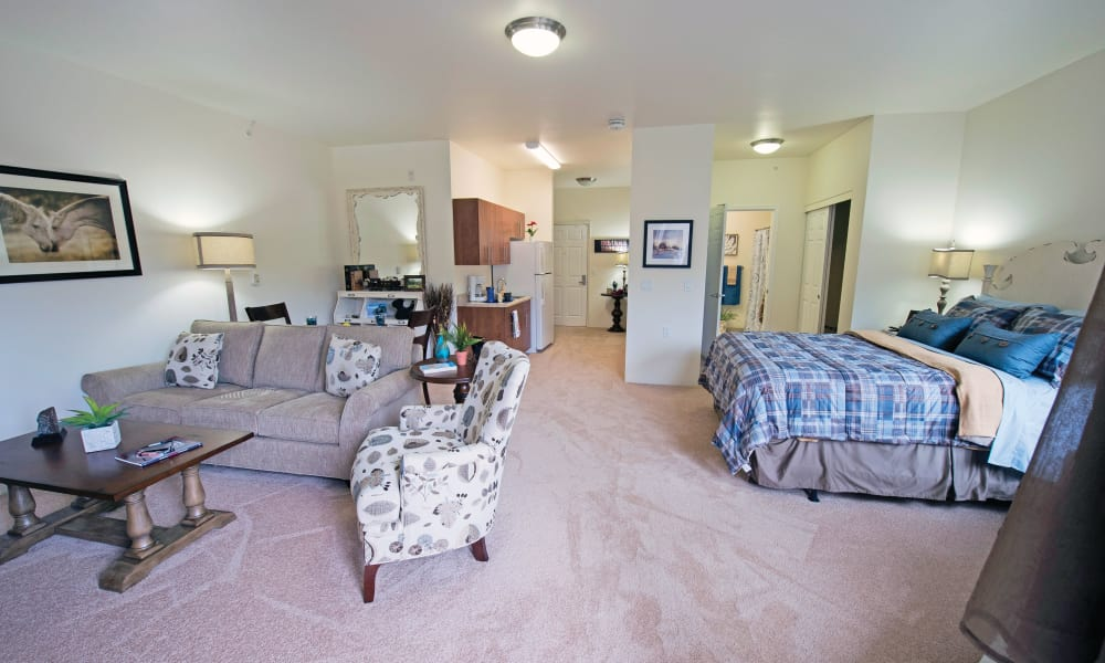 A well decorated studio apartment at Rosewood Estates in Cobourg, Ontario