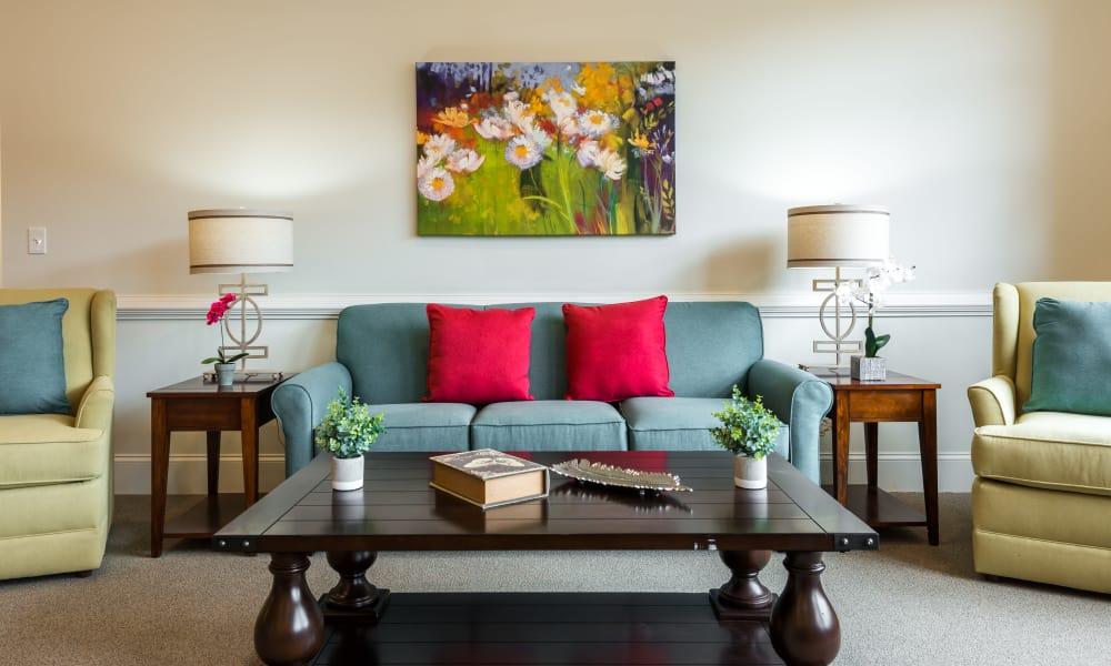 Model living room at The Mansions at Alpharetta in Alpharetta, Georgia