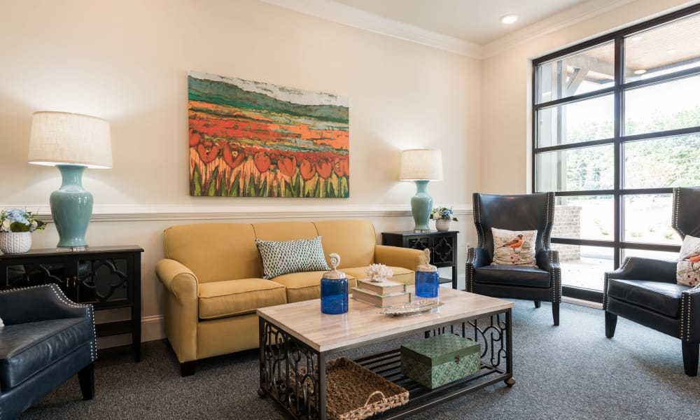 Living room at The Mansions at Alpharetta Assisted Living and Memory Care in Alpharetta, Georgia