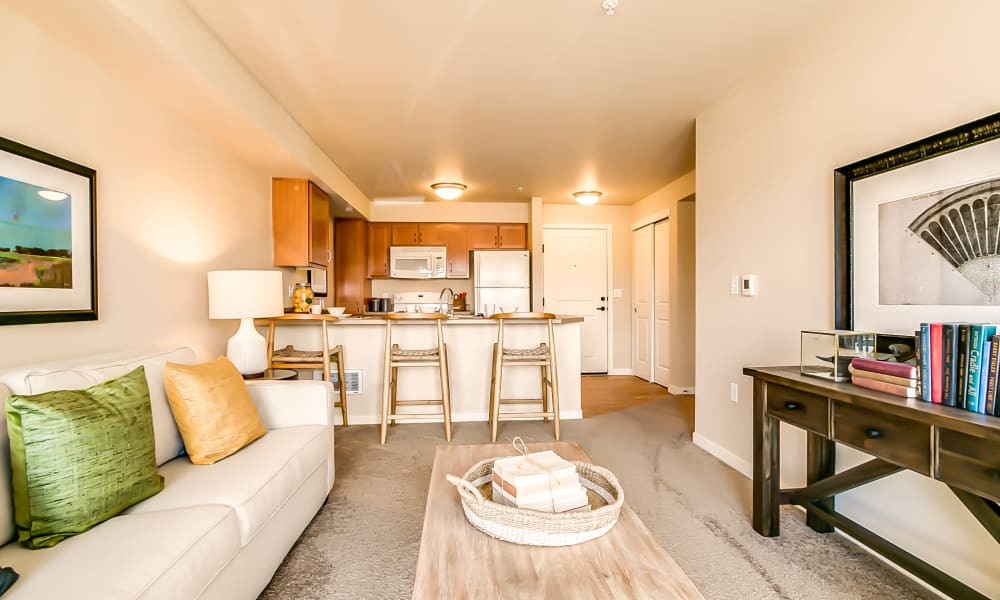 Kitchen, living room at Affinity at Lacey in Lacey, Washington