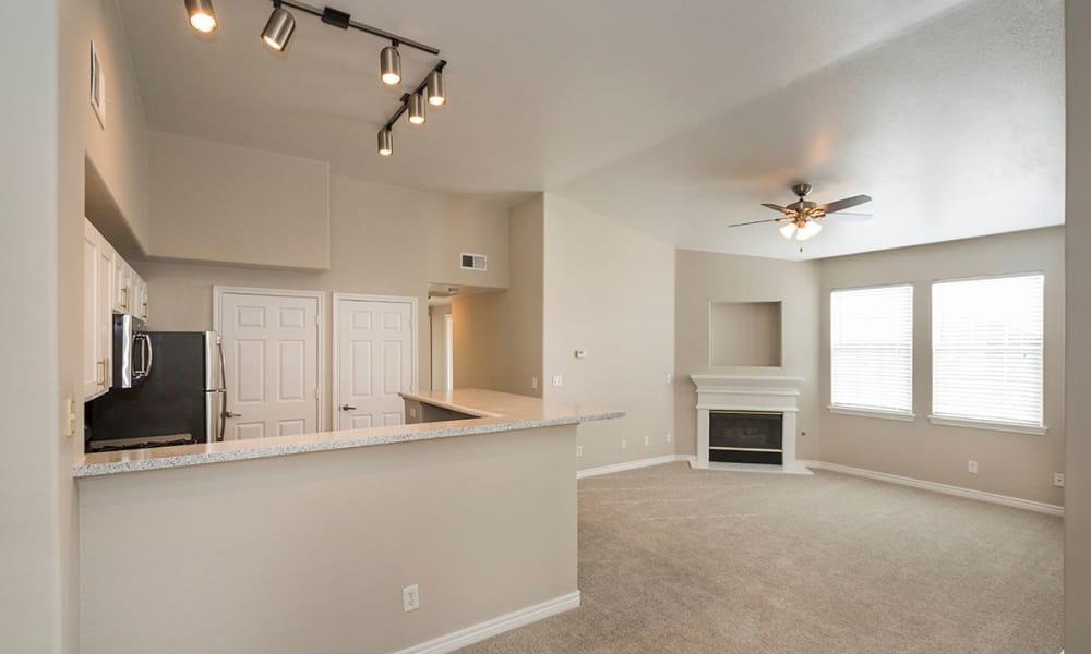 Upgraded spacious living room at Resort at University Park in Colorado Springs, Colorado