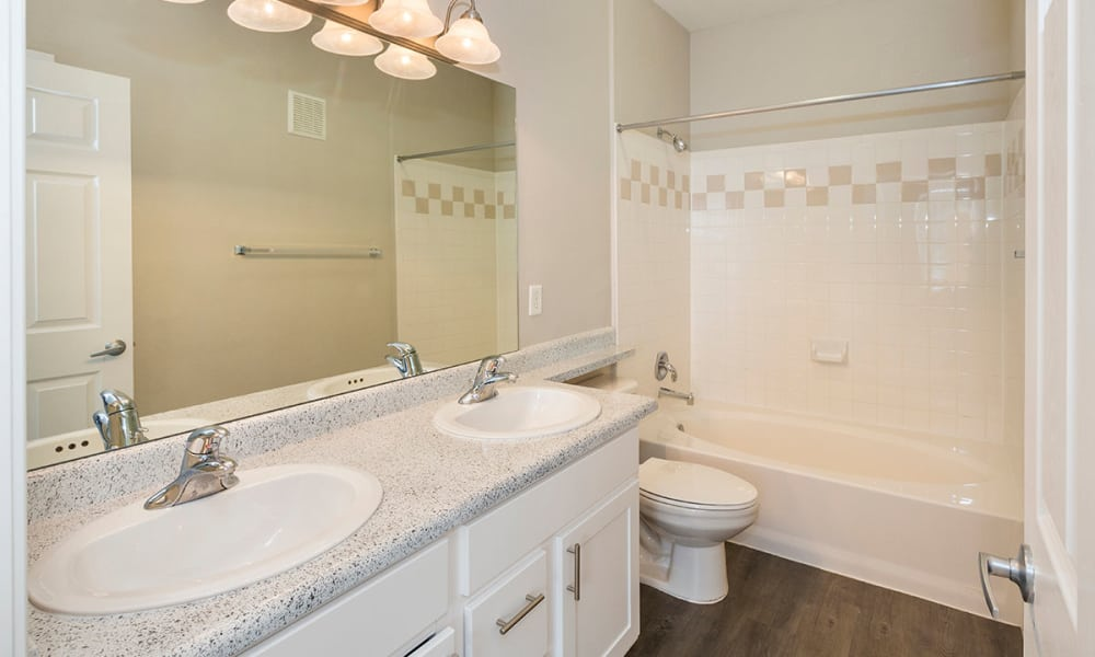 Upgraded bathroom at Resort at University Park in Colorado Springs, Colorado