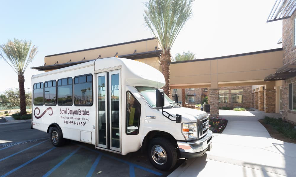 The community bus parked in front of Scholl Canyon Estates in Glendale, California