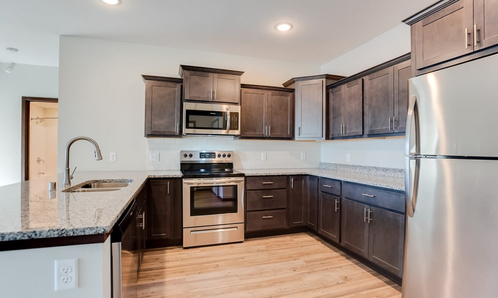 Gourmet kitchen at Crossroads at Elm Creek in Maple Grove