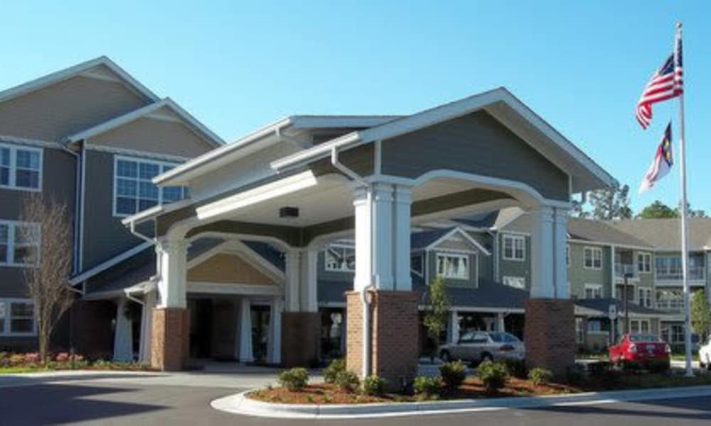 Building exterior and main entrance at Southern Pines Gracious Retirement Living in Southern Pines, North Carolina