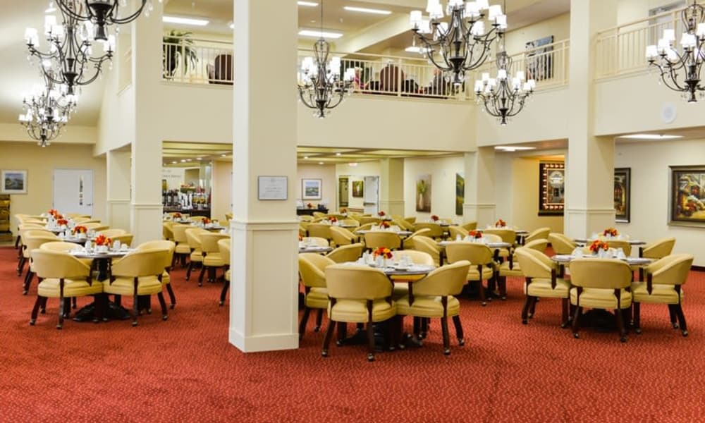 The community dining room for residents at Southern Pines Gracious Retirement Living in Southern Pines, North Carolina