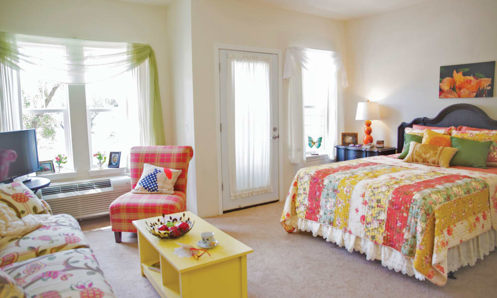 A sunny studio floor plan at Southern Pines Gracious Retirement Living in Southern Pines, North Carolina