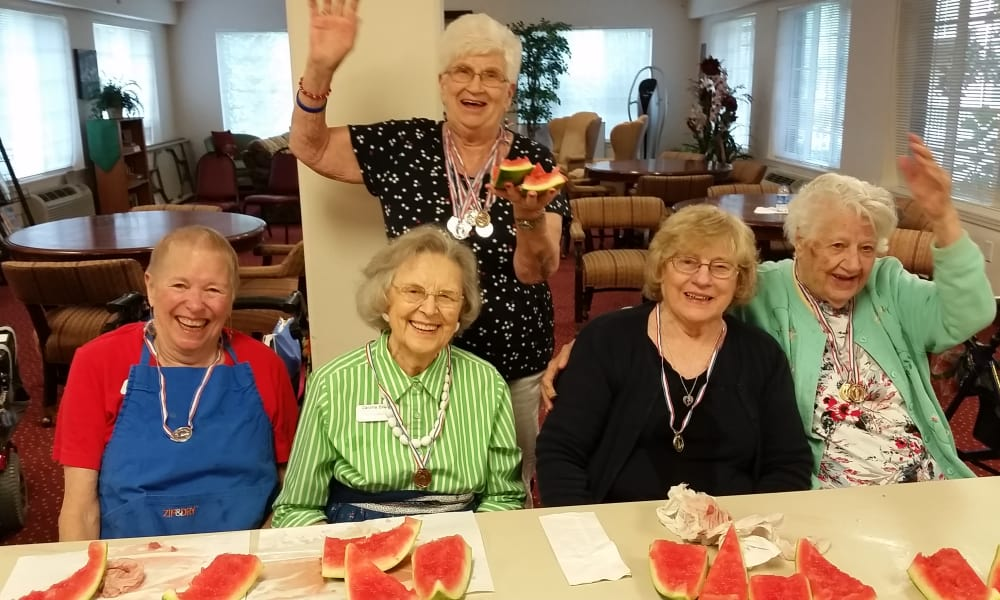 Residents after a watermelon eating contest at Sterling Heights Gracious Retirement Living in Bethlehem, Pennsylvania